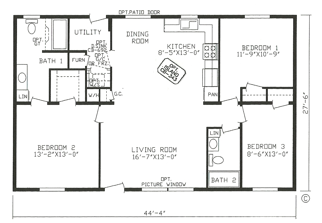 nice 2 bedroom house floor plans open floor plan #7: 3 Bedroom Open Floor House Plans Three Bedroom Country Bedroom