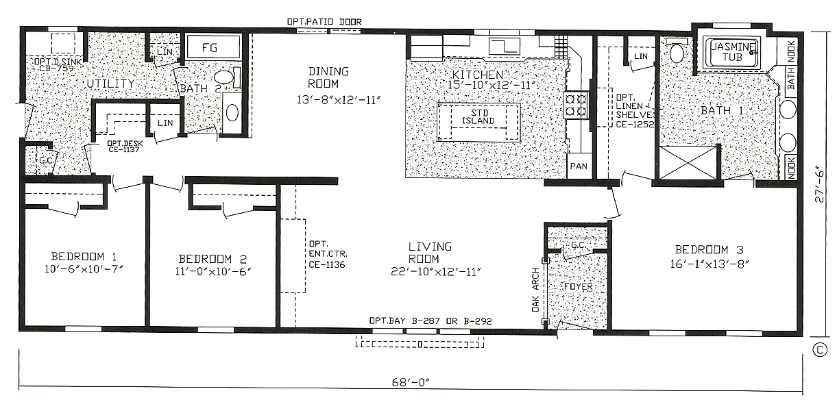 Single wide mobile home floor plans 3 bedroom for 2 bedroom mobile home floor plans